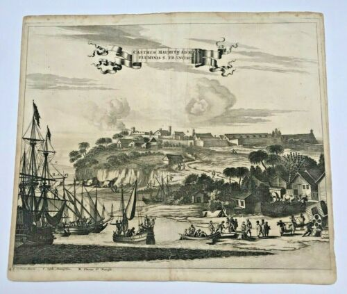 BRAZIL FORT MAURICE 1673 Arnold MONTANUS RARE ANTIQUE VIEW 17TH CENTURY