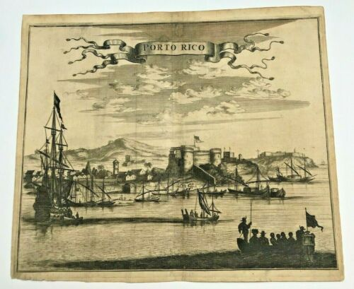 PUERTO RICO 1673 Arnold MONTANUS RARE LARGE ANTIQUE ENGRAVED VIEW 17TH CENTURY
