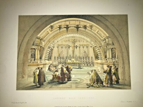 JERUSALEM CALVARY HOLY SEPULCHRE 1857 DAVID ROBERTS ANTIQUE LITHOGRAPHIC VIEW