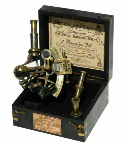 J.Scott Antique Brass Ship Sextant With Two Extra Telescope In Hardwood Box Gift