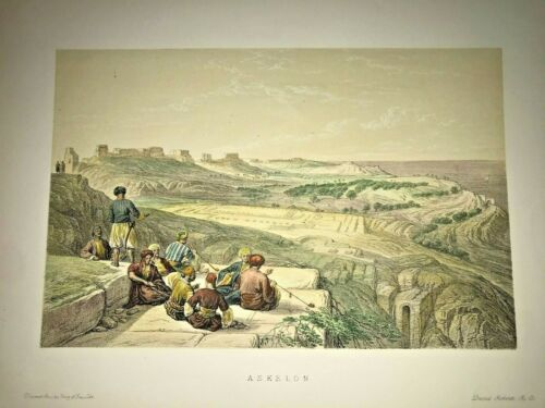 ASKELON ISRAEL 1857 DAVID ROBERTS ANTIQUE LITHOGRAPHIC VIEW 19TH CENTURY