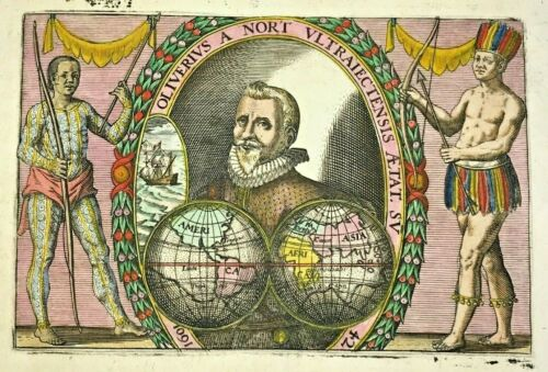 THEODORE DE BRY 1602 TITLE PAGE ANTIQUE COPPER ENGRAVED WORLD MAP