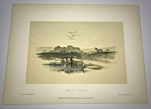 BEIT GUVRIN ISRAEL 1857 DAVID ROBERTS ANTIQUE LITHOGRAPHIC VIEW 19TH CENTURY