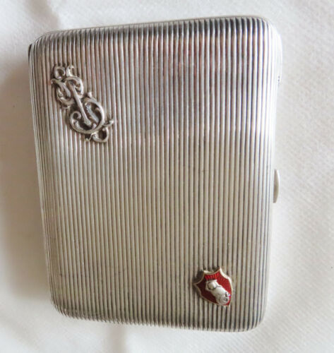 RUSSIAN SILVER  WITH GOLD ENAMELED EMBLEM CIGARETTE CASE