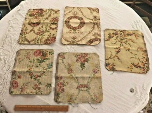 Lot Of 5 French 19thC c1890-1900 Cotton Jacquard Tapestry Sample Fabric