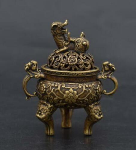 Chinese Old Handmade pure brass Beast head small Incense burner statue