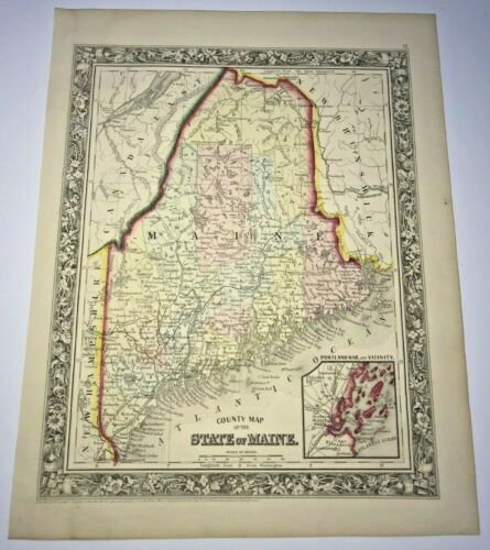STATE OF MAINE USA 1860 AUGUSTUS MITCHELL ANTIQUE ENGRAVED MAP 19TH CENTURY