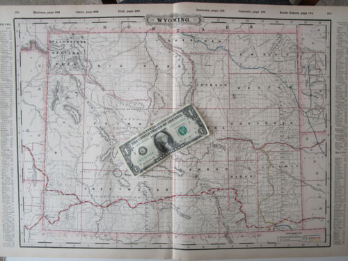 WY 1895 WYOMING STEAM RAILROAD Map. FREMONT ELKHORN & MISSOURI VALLEY RR 1800s
