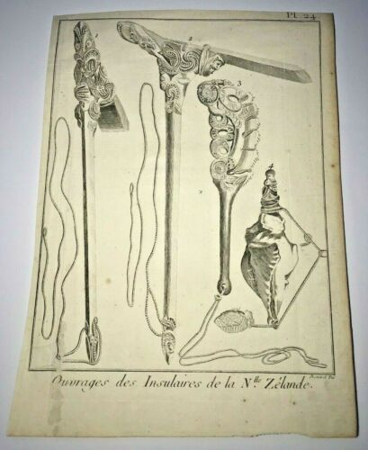 NEW ZEALAND INSTRUMENTS 1774 JAMES COOK ANTIQUE ENGRAVED PLATE 18TH CENTURY
