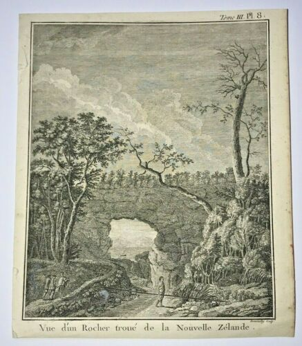 NEW ZEALAND ROCHER TROUE 1774 JAMES COOK ANTIQUE ENGRAVED VIEW 18TH CENTURY