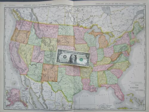 US XL 1912 DATED Map 1910s UNITED STATES Map USA Commercial Map. AK Alaska 1900s