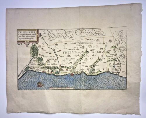 TRIBE OF ASHER HOLY LAND 1590 VAN ADRICHOM RARE LARGE ANTIQUE MAP 16TH CENTURY
