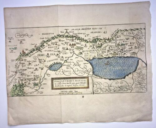 TRIBE OF MANSSEH HOLY LAND 1590 VAN ADRICHOM LARGE ANTIQUE MAP 16TH CENTURY