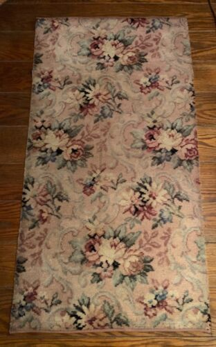 Gorgeous BIGELOW VINTAGE Cabbage ROSES with Scrolls WOOL Carpet