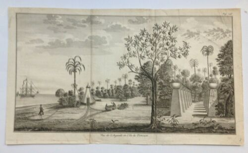TINIAN MARIANA ISLANDS 1750 GEORGE ANSON LARGE ANTIQUE VIEW 18TH CENTURY