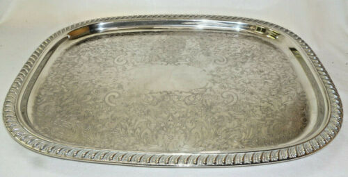 VINTAGE EXTRA LARGE STRONG ORNATE SILVER TRAY - 46cm long - Ranleigh Brand