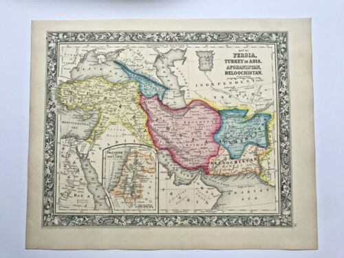 PERSIA TURKEY AFGHANISTAN BELOUCHISTAN 1860 MITCHELL LARGE ANTIQUE MAP