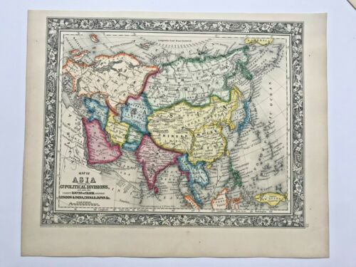 ASIA POLITICAL DIVISIONS 1860 MITCHELL LARGE ANTIQUE ENGRAVED MAP 19TH CENTURY