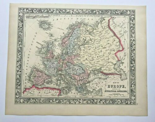EUROPE 1860 MITCHELL LARGE ANTIQUE ENGRAVED MAP 19TH CENTURY