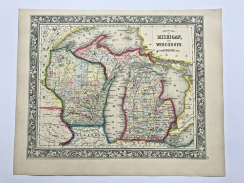 USA MICHIGAN WISCONSIN 1860 MITCHELL LARGE DETAILED ANTIQUE MAP 19TH CENTURY