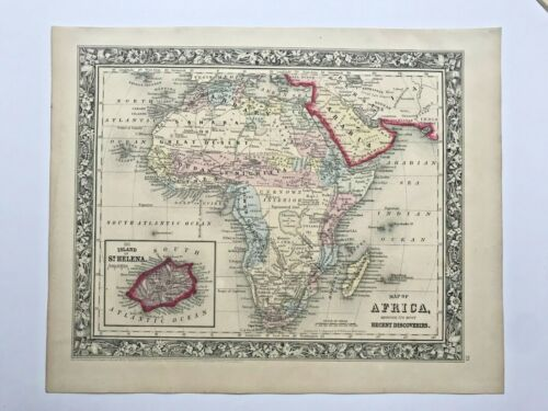 AFRICA ST HELENA ISLAND 1860 MITCHELL LARGE DETAILED ANTIQUE MAP 19TH CENTURY