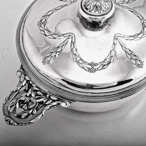 19C ANTIQUE FRENCH STERLING SILVER SOUP VEGETABLE TUREEN BY BOIN-TABURET MINERVA