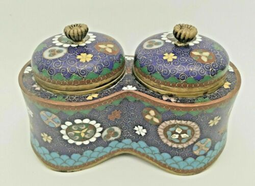 Antique Japanese Cloisonné Covered Double Inkwell