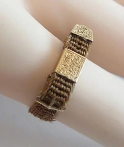 14K Antique Yellow Gold Mourning Hair Ring…Belt & Buckle Style