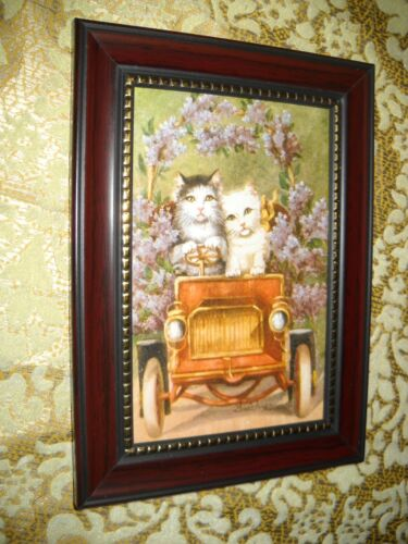 CATS LILAC CAR RIDE 4 X 6 brown framed animal picture Victorian style art print