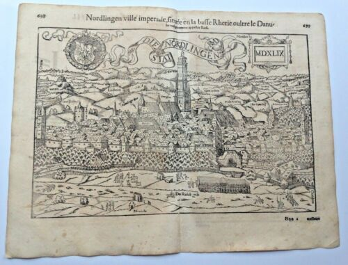 NORDLINGEN GERMANY 1552 COSMOGRAPHY OF MUNSTER LARGE ANTIQUE ENGRAVED VIEW