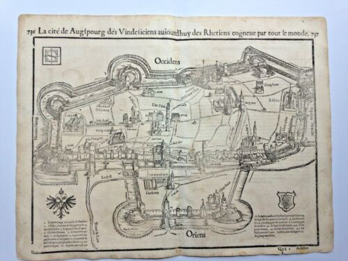 AUGSBURG GERMANY 1552 COSMOGRAPHY OF MUNSTER LARGE ANTIQUE ENGRAVED PLAN