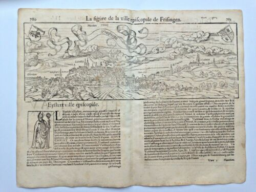 FREISING GERMANY 1552 COSMOGRAPHY OF MUNSTER LARGE ANTIQUE ENGRAVED VIEW