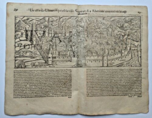 CHUR GERMANY 1552 COSMOGRAPHY OF MUNSTER LARGE ANTIQUE ENGRAVED VIEW