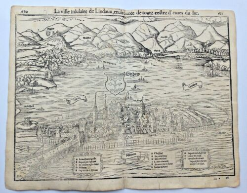 LINDAU GERMANY 1552 COSMOGRAPHY OF MUNSTER LARGE ANTIQUE ENGRAVED VIEW