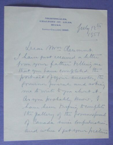 1951 MSS LETTERS SIGNED ALEXANDER of TUNIS  CANADA HOUSE LONDON ART GALLERY