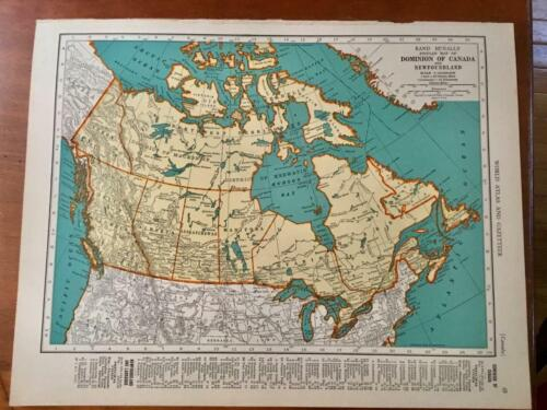 Vintage 1940 (Pre-WWII) 2-Sided Colored Map Page~CANADA / Provinces