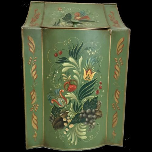 "19 ½"" Toleware Tin Masterpiece Box ""Grandest Green"" Terrific Size and Shape"