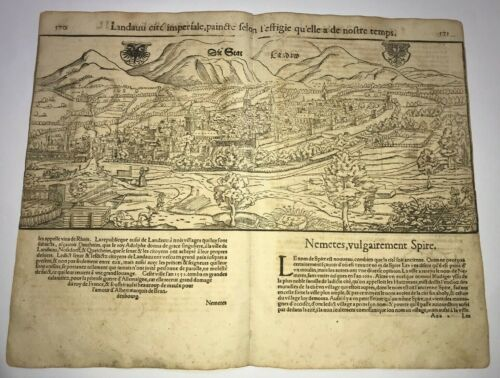 LANDAU GERMANY 1552 COSMOGRAPHY OF MUNSTER LARGE ANTIQUE ENGRAVED VIEW
