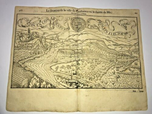 KOBLENZ GERMANY 1552 COSMOGRAPHY OF MUNSTER LARGE ANTIQUE ENGRAVED VIEW