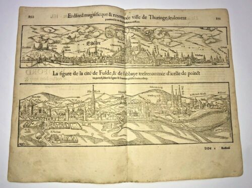 THURINGE & FULDE GERMANY 1552 COSMOGRAPHY OF MUNSTER LARGE ANTIQUE VIEW