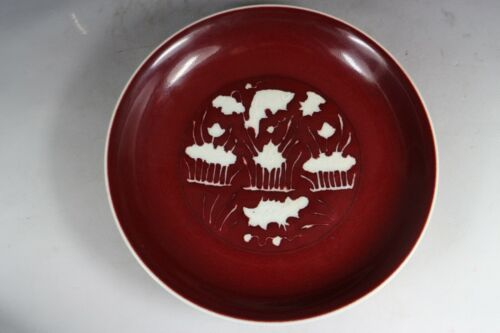 Beautiful Chinese red and white porcelain plate