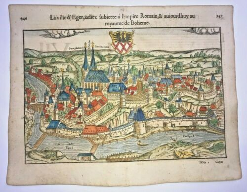 CHEB CZECH REPUBLIC 1552 COSMOGRAPHY OF MUNSTER LARGE ANTIQUE VIEW 16TH CENTURY