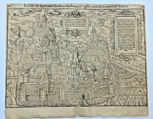 SYON SITTEN SWISS 1552 COSMOGRAPHY OF MUNSTER LARGE ANTIQUE VIEW 16TH CENTURY