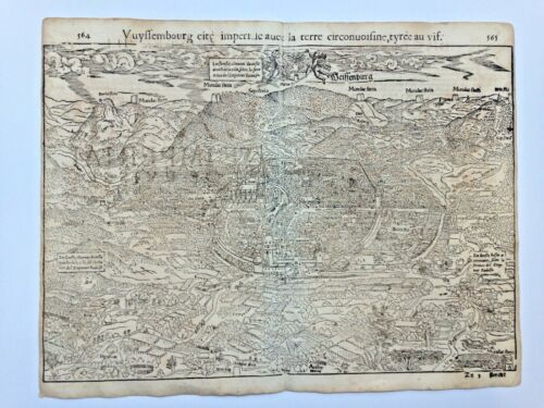 WEISSENBURG GERMANY 1552 COSMOGRAPHY OF MUNSTER LARGE ANTIQUE VIEW 16TH CENTURY