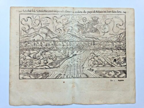 SELESTAT FRANCE 1552 COSMOGRAPHY OF MUNSTER LARGE ANTIQUE VIEW 16TH CENTURY