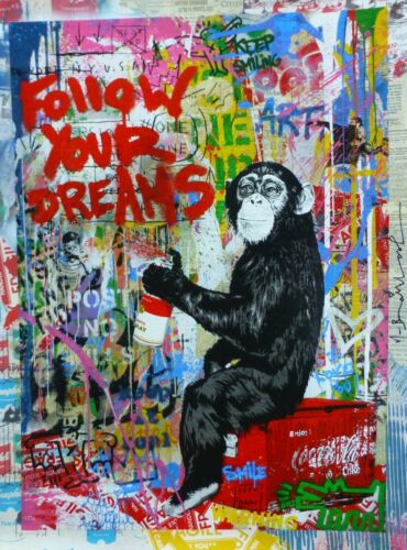 """MR BRAINWASH """"ICONIC""""Follow your dreams Unique Mixed media Orig HAND SIGNED 1/1"""
