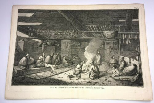 CANADA VANCOUVER NOOTKA HOUSE 1780 JAMES COOK LARGE ANTIQUE VIEW 18TH CENTURY