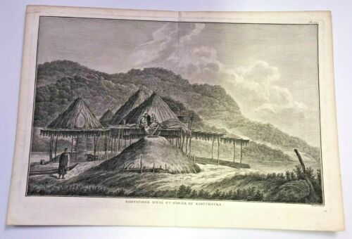 KAMTCHATKA RUSSIA 1780 JAMES COOK LARGE ANTIQUE VIEW 18TH CENTURY