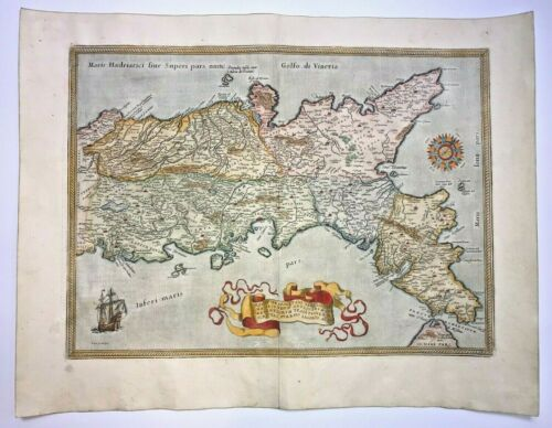 SOUTHERN ITALY 1579 ABRAHAM ORTELIUS UNUSUAL LARGE ANTIQUE MAP 16TH CENTURY