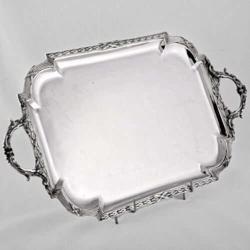 E. PUIFORCAT ANTIQUE FRENCH SOLID STERLING SILVER SERVING TRAY HANDLES MINERVA